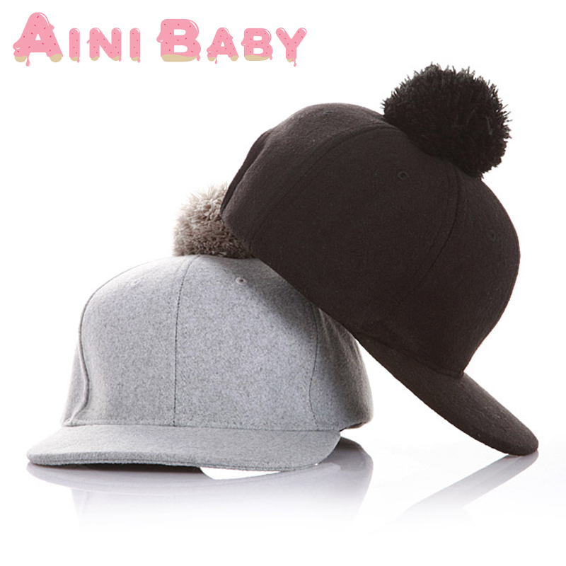 Woolen Ball Child Snapback Cap Kid Hip Hop Cap For Boy Hat For Girl Cap For Children Baseball Hat Baby Snapback Hat Horse Riding(China (Mainland))