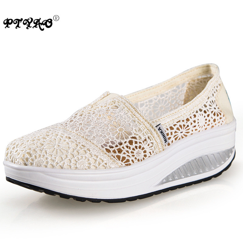 Hot Sale Summer Shoes for Women 2016 Hollow Lace Massage Swing Wedge Shoe Women Casual Shoes Platform Zapatillas Mujer(China (Mainland))