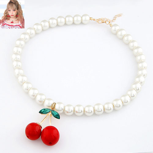Fashion Cherry Pendant Choker Nekclace For Women Pearl Collar Fashion Jewelry Necklaces & Pendants 2015 New Brand Jewelry(China (Mainland))