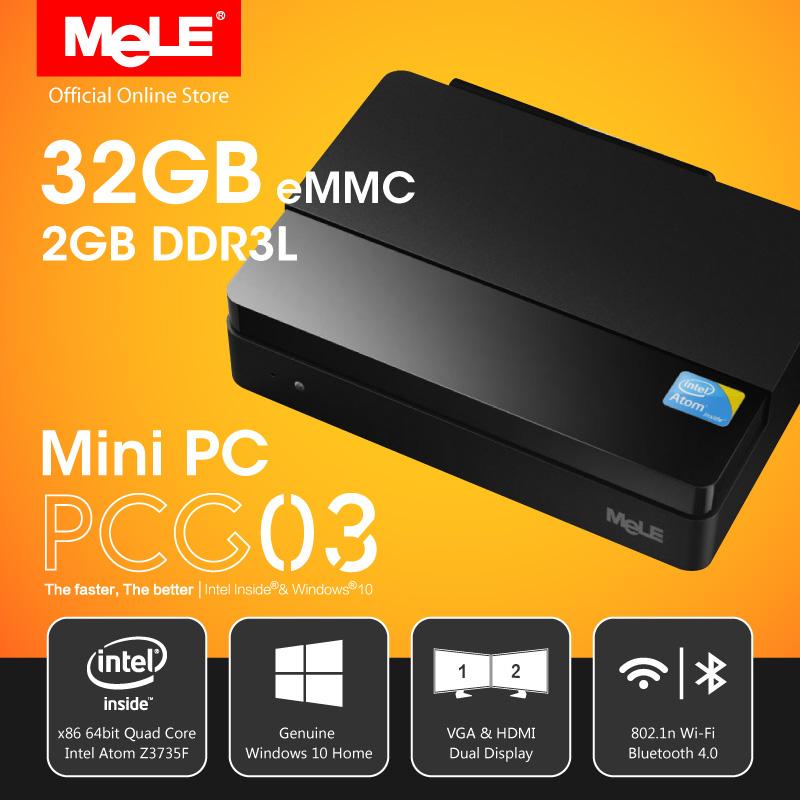 Fanless Intel Mini PC MeLE PCG03 Genuine Windows 10 Quad Core Intel Bay Trail Z3735F 2GB DDR3 32GB eMMC HDMI VGA LAN WiFi BT(China (Mainland))