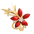 2015 New Arrived Fashion Retro Gold Alloy rhinestone brooch Resin Flower Shape Female Brooches for women