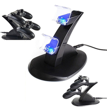 2015 Hot LED Dual Charger Dock Mount USB Charging Stand For PS4 PlayStation Controller (China (Mainland))