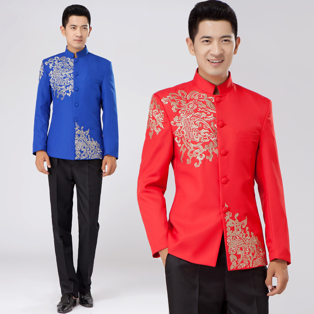 Suits costume male embroidery dragon totem suit chinese wedding dress