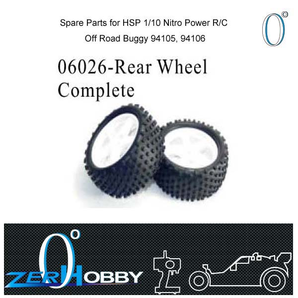 RC CAR SPARE PARTS REAR WHEEL COMPLETE FOR HSP 1/10 NITRO RC CAR BUGGY 9415, 94106 (part no. 06026(China (Mainland))