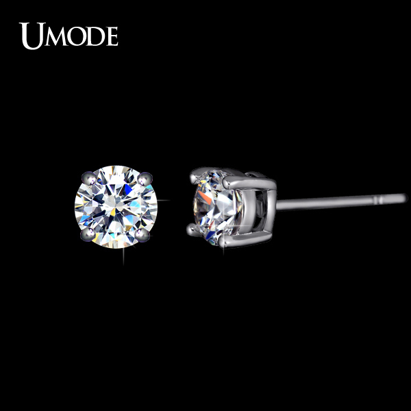 UMODE White Gold Plated 4 Prong Small Cute AAA Top Grade 0.5 Carat Sona CZ Diamond Post Stud Earrings UE0142(China (Mainland))