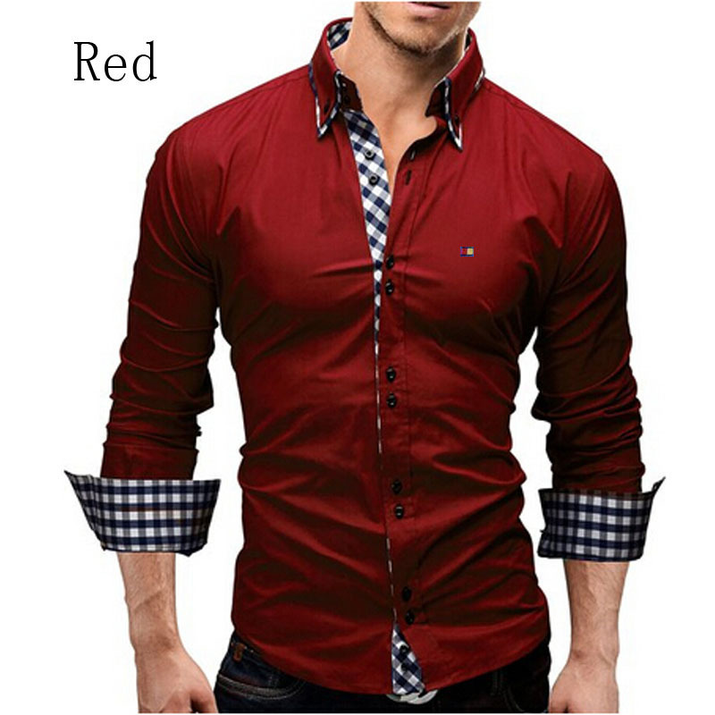 New Men s Shirts Casual Slim Long Sleeve Formal Business Fit Male Shirt font b Plaid