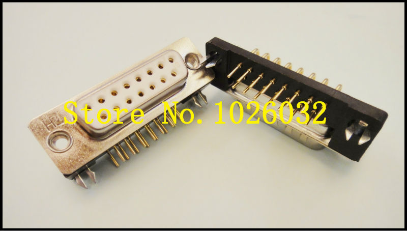 20Pcs/A Lot Gold Plated RS232 Serial DR 15 Female Plug Connector Right Angle DIP Type Connector<br><br>Aliexpress