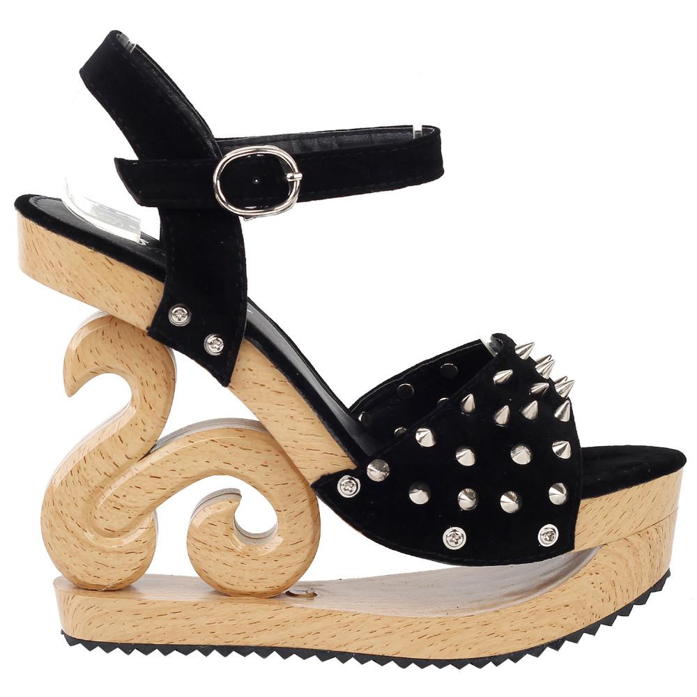 ซื้อ LF30830โกธิคพังก์เข็มดูไม้ลิ่มแพลตฟอร์มคลับอุดตันรองเท้าแตะขนาด4/5/6/7/8/9