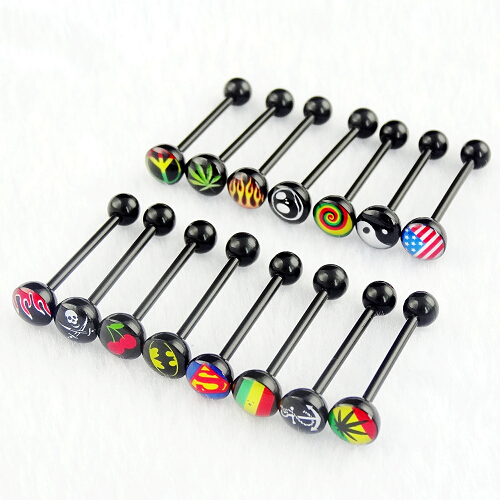 new fashion black acrylic logo tongue ring tongue piercing