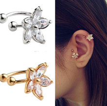 1PC Women's Fashion Cz Crystal Flower U Shape Ear Cuff Clip-on No Piercing Earring ER770-ER771