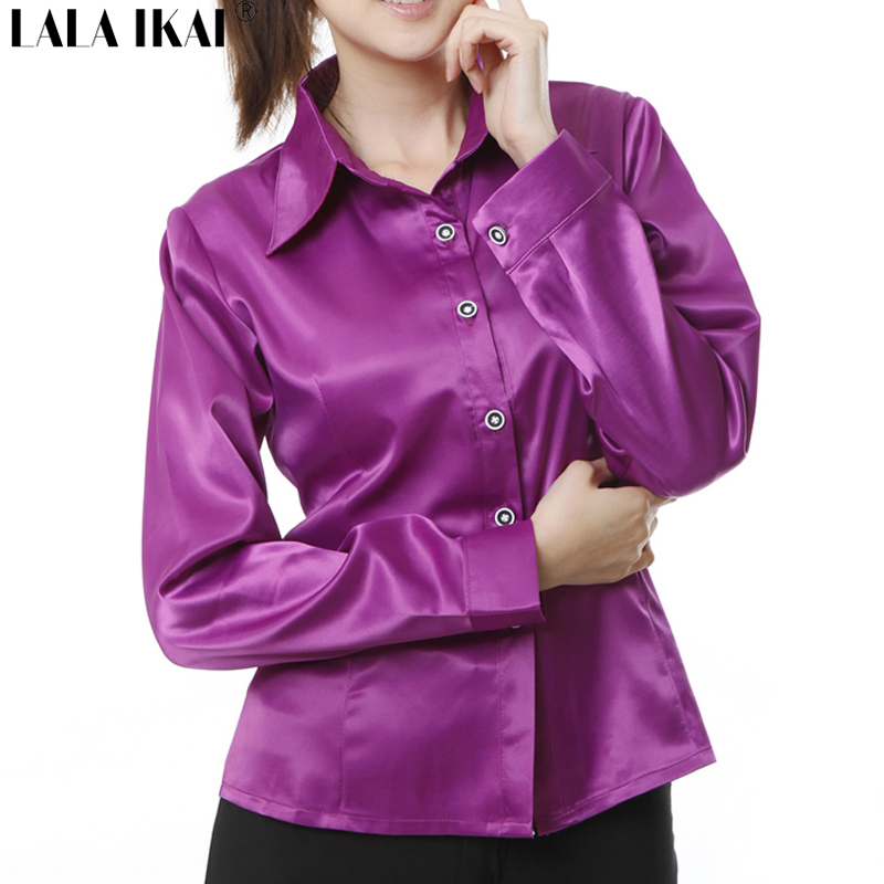 Model 2015 Women Solid Silk Look Satin Blouses Work Vintage Long Sleeve