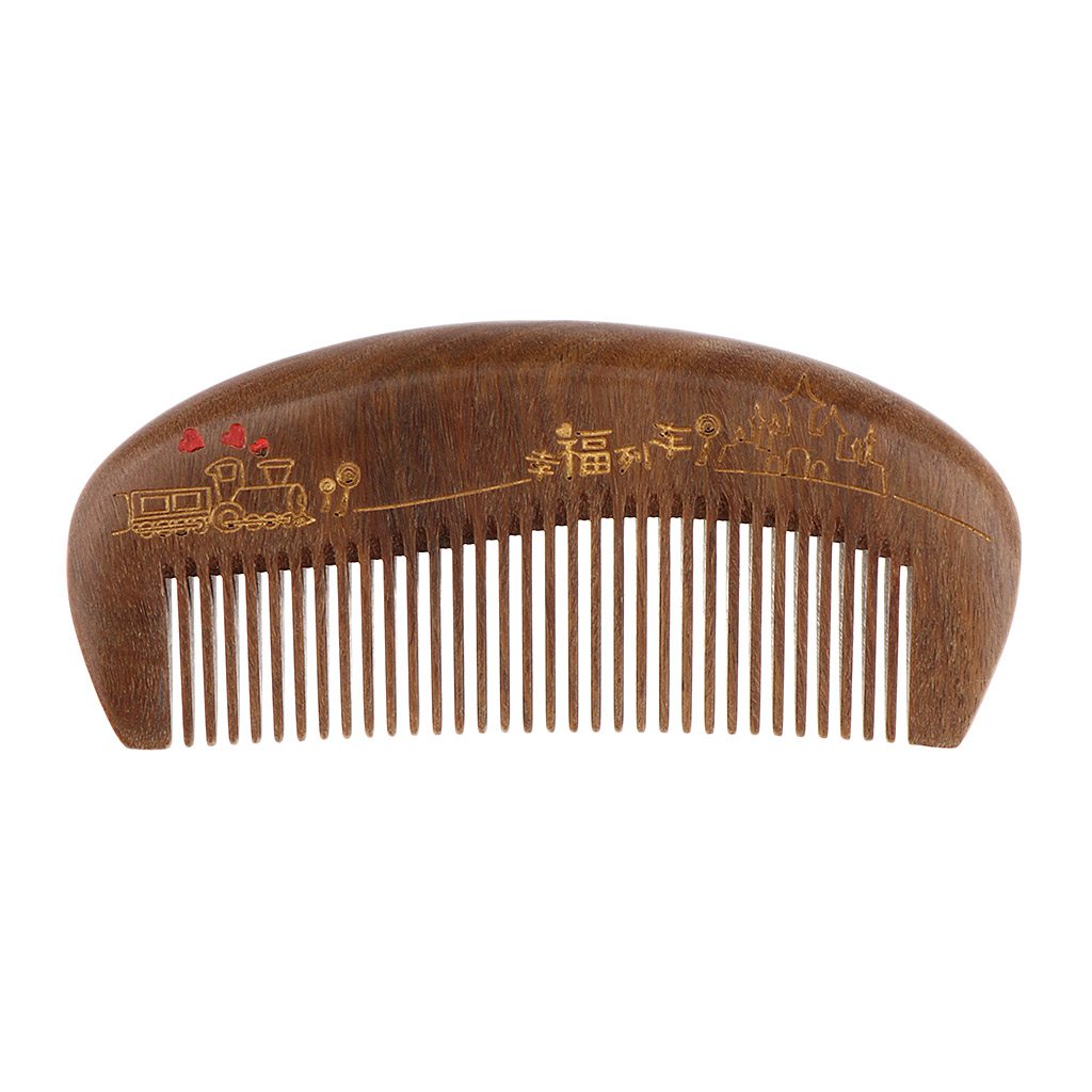 Exquisite Mini Compact Natural Green Sandalwood Comb ,Handmade Anti-Static Fine Tooth Pocket Hair Comb without Handle