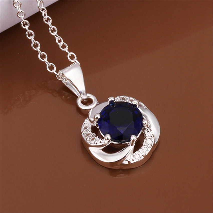 Special high-quality silver plated jewelry fashion woman noble shiny charm blue crystal zircon pendant necklace N470 Kinsle(China (Mainland))