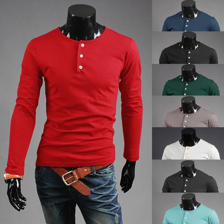 Fashion mens pullover shirts long sleeve mens t shirts for Mens long sleeve pullover shirts