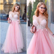 Pink Tulle Ladies Evening Dress 2017 Vestidos de gala largos Sexy Illusion Neckline Lace Appliques Long Formal Women Party Dress(China (Mainland))