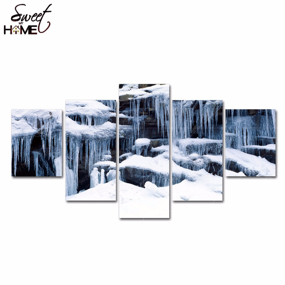 5 Panels Modern Home Decor Icicles and Snow Pictures Wall Art Living Room Painting Large Canvas Art Unframed(China (Mainland))