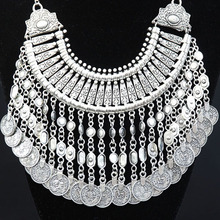 2015 Bohemian Jewelry Vintage Silver Chain Choker Collar Necklace Women Coin Tassels Statement  Collier Necklaces & Pendants
