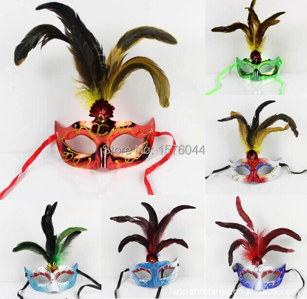 The five root of chicken tail hair Cardin a Party Princess painted plastic mask wholesale 10pcs/lot fre shipping(China (Mainland))