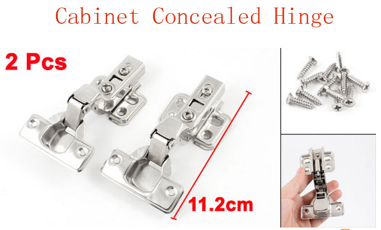 112mm x 27mm Hardware Tool Stainless Steel Concealed Cabinet Hinge Silver Tone 2 Pcs(China (Mainland))