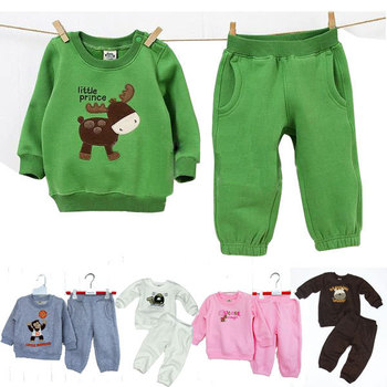 girls boy clothing set 2014 long sleeve child clothing set spring fleece thicken baby boy 2pcs suits kids boys tracksuits sports