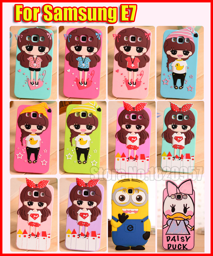 For Samsung Galaxy E7 E7000 Cover 3D Cute Cartoon duck girl Despicable Me Yellow minion soft silicone Cover Case Free Shipping(China (Mainland))