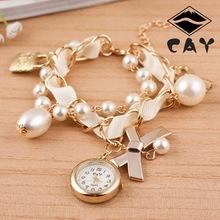 Shipping caliente de moda mujeres pulsera relojes Lady tecla de bloqueo de aleación de la perla de la mariposa para mujer del reloj de cuarzo de la cinta de pulsera