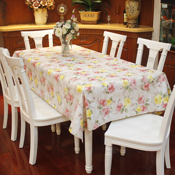 PVC Table Cloth Plastic Waterproof Oil Dining Tablecloth Flower Printed Rectangle Table Cover Overlay Table Cloths 005(China (Mainland))