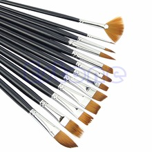 New 12 Type Brown Tip Nylon Paint Brushes For Art Artist Supplies Hot Sale(China (Mainland))