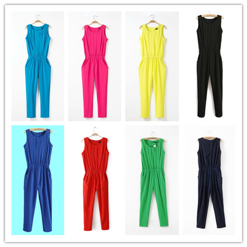 2014 Summer women's rompers jumpsuit candy colors sleeveless pleated chiffon harem pants jumpsuit XXL plus size trousers female(China (Mainland))