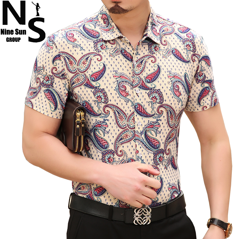 Top Ns Size Big Short Sleeve Striped Flower Mens Dress