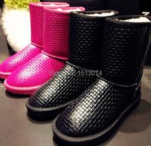 Nuevas mujeres de moda botas de nieve de invierno de la felpa zapatos calientes genuinas zapatos de cuero para mujer Short negro zapato femenino(China (Mainland))