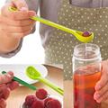 Fruit scoop 2 piece Jar spoon And Fork Plastic Colander Steel Fruit Fork Practical Kitchen Tools