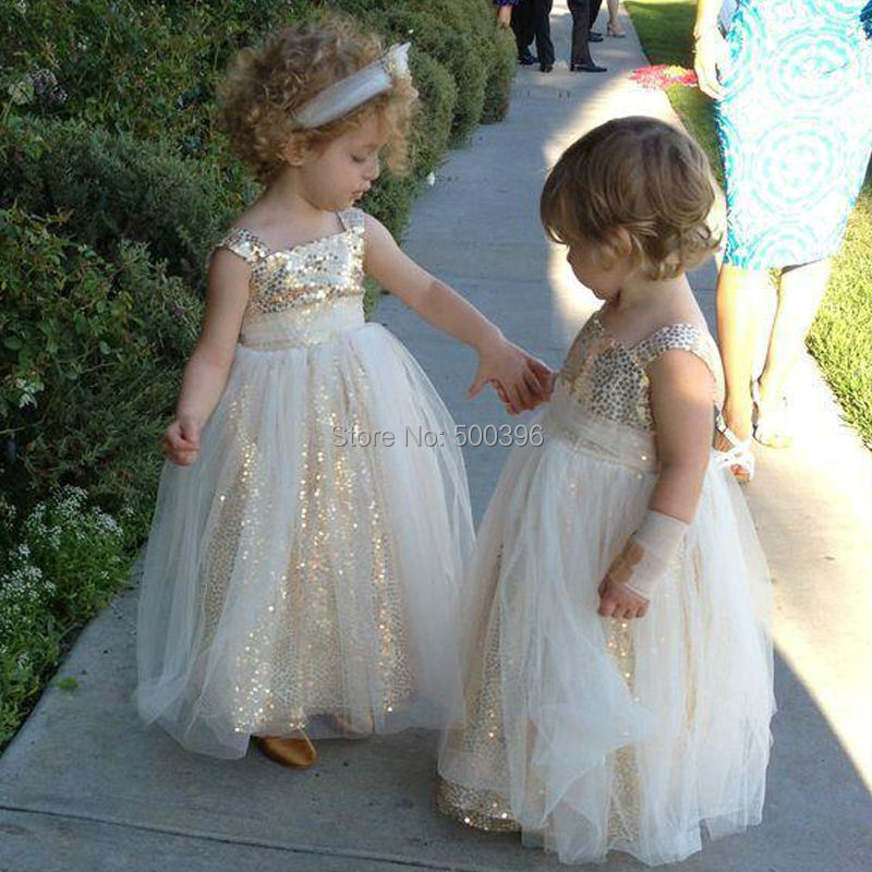 sparking floor length flower girl dresses for weddings and party 2016 a line formal dress for. Black Bedroom Furniture Sets. Home Design Ideas
