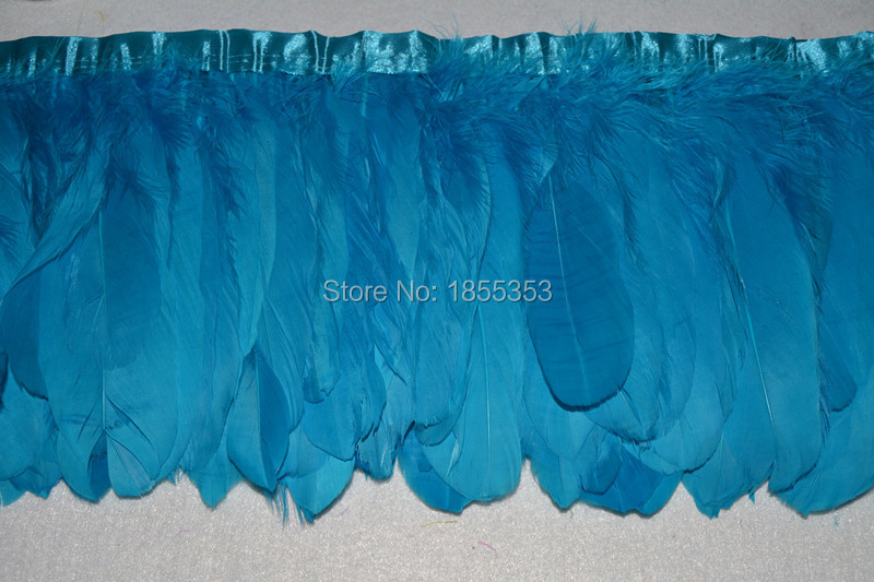2 meters beautiful feathers clipping skill feather goose feather color Sky Blue cloth tape 6 to 8 inches / 15 to 20 cm hot(China (Mainland))