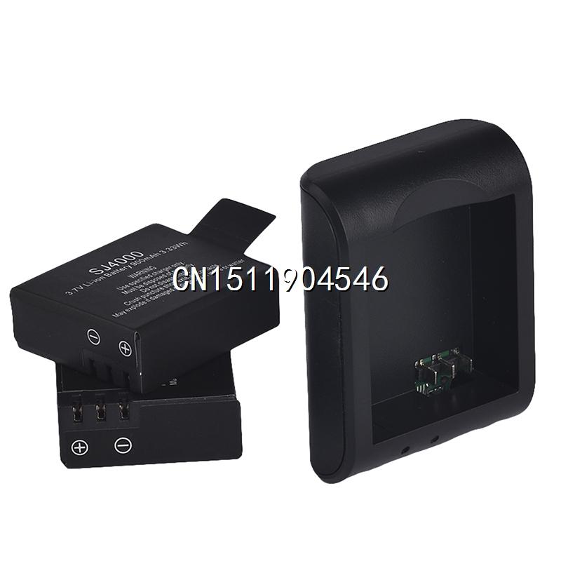 2x900mAh 3 7V Lithium Digital Batteries Battery Bateria Micro usb Charger For SJCAM SJ4000 SJ 4000
