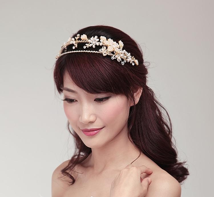 Pearl Headpieces For Brides: Luxury Handmade Golden Crystal Pearl Bridal Headband