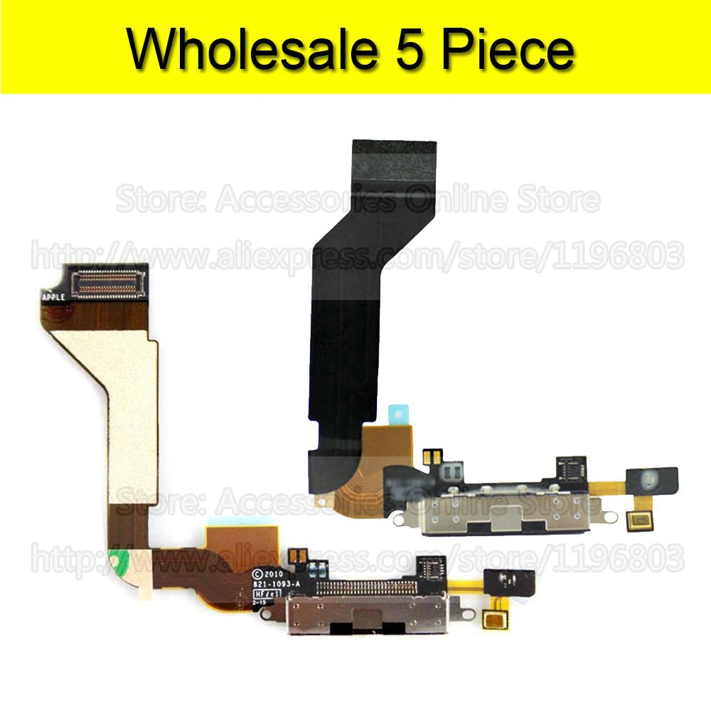 5 Piece For iPhone 4s Charger Flex Port Dock USB Connector Charging Flex Cable For iPhone 4 4G Wholesale(China (Mainland))