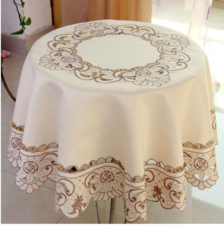 Fashionable Polyester Satin Jacquard Embroidery Floral Tablecloth Solid Color Embroidered Table Linen Cloth Cover Overlay YYM010 - hongyi zhang's store