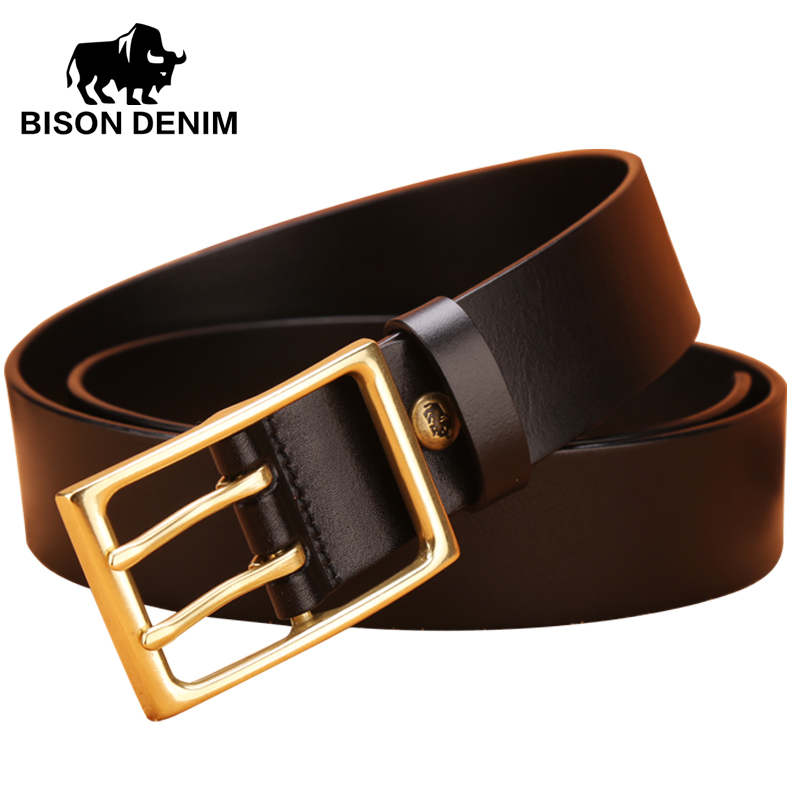 BISON DENIM Classic designer brand Double pin Men Belt Casual Matchable Cowboy Genuine Leather Smooth Double Pin Buckle N71013(China (Mainland))
