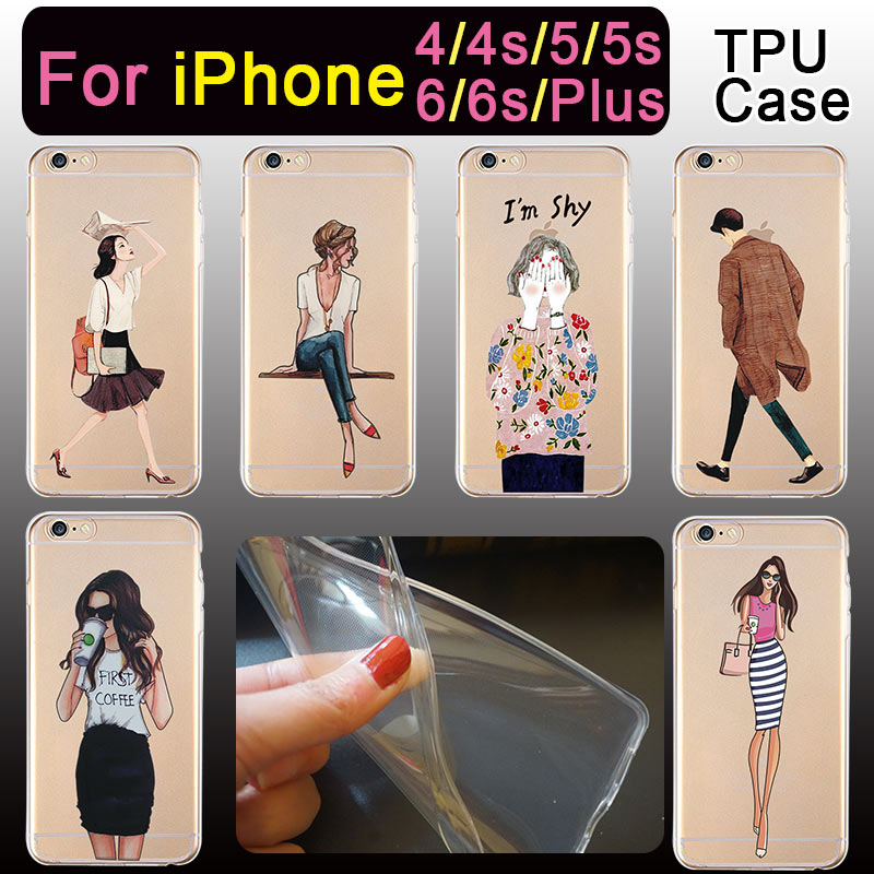 Fashion Girl boy drink coffee Transparent TPU Design Phone Case For iPhone 4 4s 5 5s 6 6s 6s Plus Beautiful Cell Phone Cases(China (Mainland))