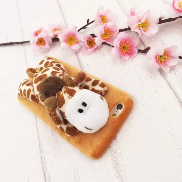 3D Giraffe Monkey Sheep Donkey Lion Furry Hard Material Zoo Series Case The For iphone 6 iphone 6s 4.7 inch Free Shipping