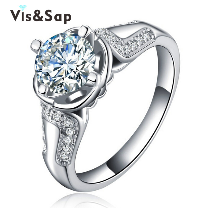White Gold plated ring vintage jewelry for lady cz diamond Engagement Wedding Jewelry Rings For Women resell wholesale VSR052(China (Mainland))