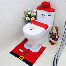 New Arrivals Christmas Interior 3pc/set Christmas Decoration Xmas Happy Santa Toilet Seat Cover and Rug Bathroom home decoration(China (Mainland))