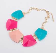 Star Jewelry wholesale for women maxi necklace 2015 new design fashion colorful gem statement necklace 7 color S45