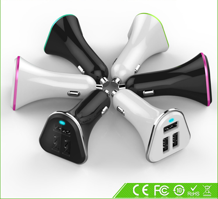 1000pcs/lot*Highspeed 3 USB Port Car Charger Dock Cigarette Lighter Adapter Output 5V 5.2A Dog bone(China (Mainland))