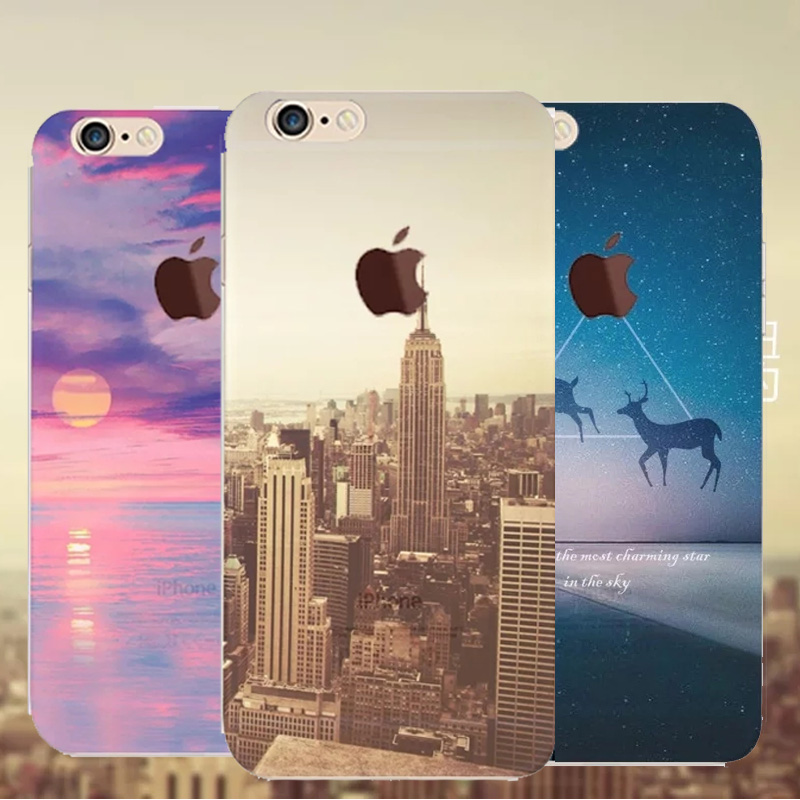 2016 New Thin Transparent Beautiful City Tower Mountain Ocean Scenery Pattern Hard Back Case Cover For Apple Iphone 6 6s 4.7(China (Mainland))