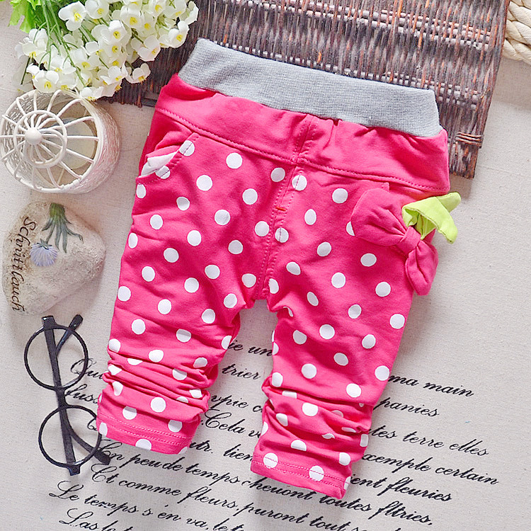 harem baby girls pants cotton high quality kids trousers children pants dots bow 2015 autumn fashion 0-2T clothes factory qk297(China (Mainland))