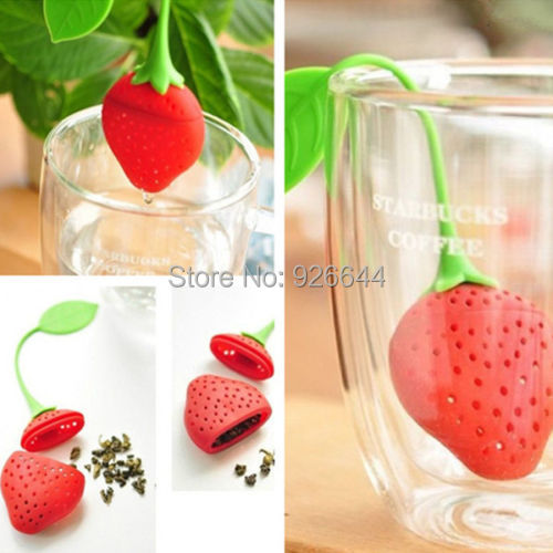 Silicone Strawberry Design Loose Tea Leaf Strainer Herbal Spice Infuser Filter Tools 2014 New free shipping(China (Mainland))