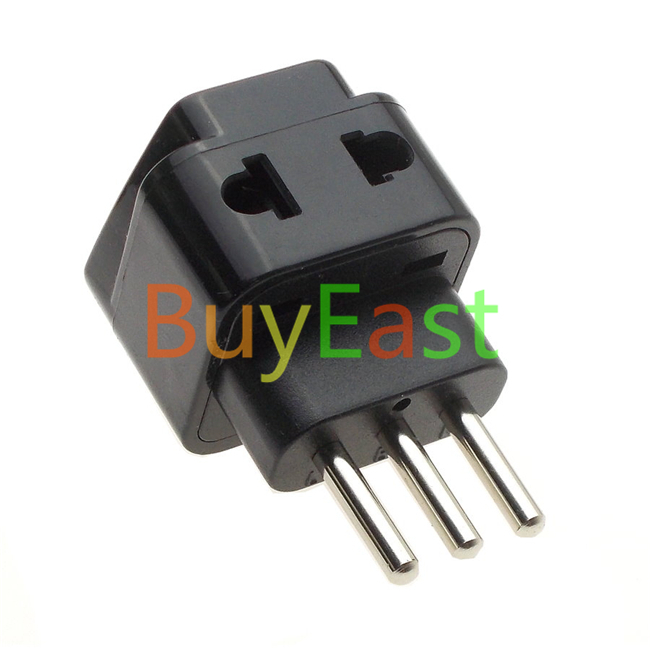 3 x Italian, Uruguay Travel Adapter Type L, 2 Outlet Convert World Plug Black Color(China (Mainland))