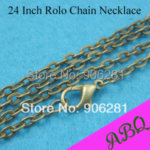 60cm (24 inch) Antique Bronze Rolo chain necklace, Link Chain, Cable Chains nearly 3mm Thick Good with Lobster Clasp Connected(China (Mainland))